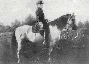 Confederate General Robert E. Lee on his horse, Traveler