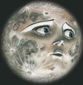 sad moon desparing over the harshness of life