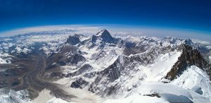 looking out from the top of mount everest
