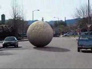 rolling ball down the street
